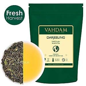 VAHDAM, primo tè Darjeeling con risciacquo -50 tazze / 100gr fogli di tè nero sfuso - fiorito, aromatico e delizioso, selezionato, confezionato e spedito direttamente dall'India