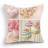 Telisha Retro-Stil Rosa Motiv Rosen-Cupcake Herz-Design Überwurf-Kissenbezug/Kissenhülle Kissenbezug 45 cm