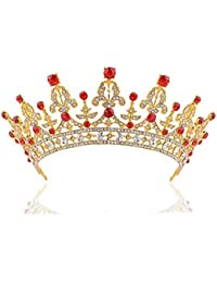ULTNICE Cumpleaños boda novia corona nupcial Tiara barroca broches diadema Clip(Golden)