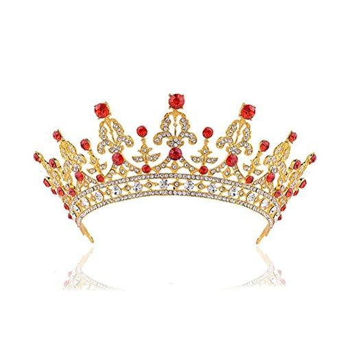 ULTNICE Geburtstag Hochzeit Braut Braut Krone barocken Tiara Haarspangen Haarreifen Clip(Golden)