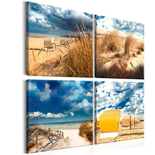 murando – Bilder Meer Strand 40x40 cm - Leinwandbilder - Fertig Aufgespannt - Vlies Leinwand - 4 Teilig - Wandbilder XXL - Kunstdrucke - Wandbild - Canvas - Mole Insel Natur Meer Wasser Strand See blau c-A-0116-b-i