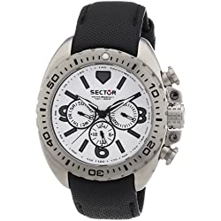 Sector Men's Quartz Watch with White Dial Chronograph Display and Black Leather Strap R3251573001