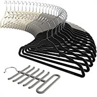 Sable Velvet Hangers 30 Pack Ultra Thin Space Saving Clothes Hanger Non-Slip Heavy Duty, 360 ° Swivel Hook, Beige, Grey including a Tie Organizer