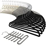 Velvet Hangers, Sable Ultra thin Space Saving Suit Hangers Non Slip Heavy Duty, 360 Degree Swivel Hook, 30-Pack, Beige, Grey including a Tie Organizer