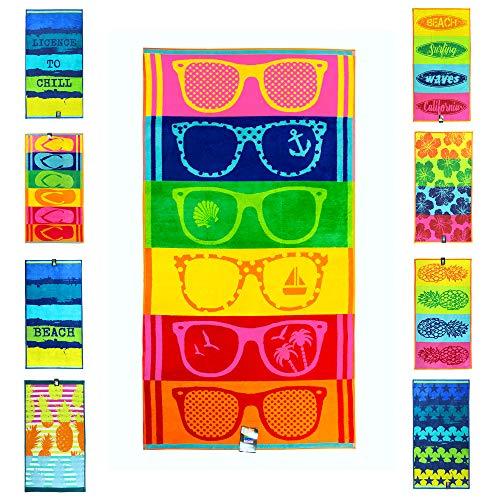 jilda-tex Strandtuch 90x180 cm Badetuch Strandlaken Handtuch 100{d2ba3116914493e5b7a2de04bda2b5c2ecd099912a47a9af5610ec18b3ad4496} Baumwolle Velours Frottier Pflegeleicht (Sunglasses)