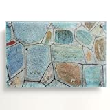 Casa Pura Glas Memo Board, Magnet | glassboard Gehwegplatte mit Magneten, | Dry Erase Pinnwand, Flagstone Print, 40 x 60 cm