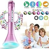 Bluetooth Karaoke Mikrofon Kinder, Drahtloses Mikrofon Tragbares Echo Karaoke Mikrophon Kabellos Mit Lautsprecher Handy Wireless Microphone für Kinder KTV Musik Singen Phone Pad Android IOS -Rose