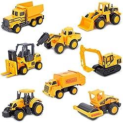 Dreamon Petite Voiture Miniature Véhicule de Construction Chantier Set Lot Jouet Enfant Garçon Fille 3 Ans et Plus (8 pcs)