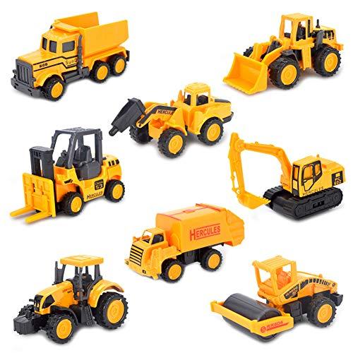 Petite Voiture Miniature Véhicule de Construction Chantier à Friction Set Lot Jouet Enfant Garçon Fille 3 Ans et Plus (8 pcs)