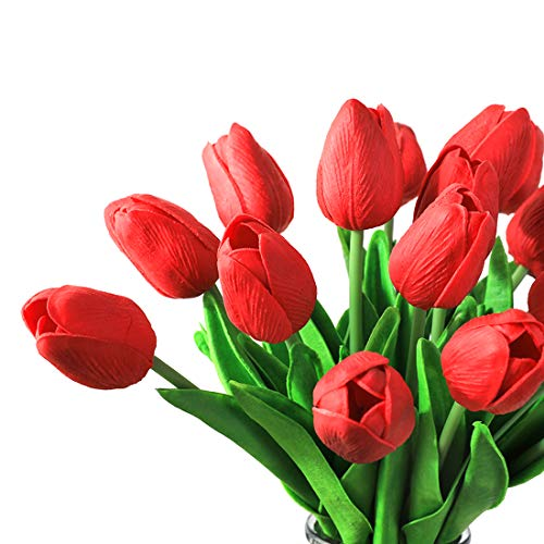 20PCS Tulpen Künstliche Fake Real Touch Latex Blumen für Hochzeit Bouquet Arrangement Home Party Decor (Red)
