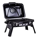 Docooler Outdoor Charcoal Barbecue Grill Enamel BBQ Grill Tabletop Grill with Folding Legs Backyard Picnic