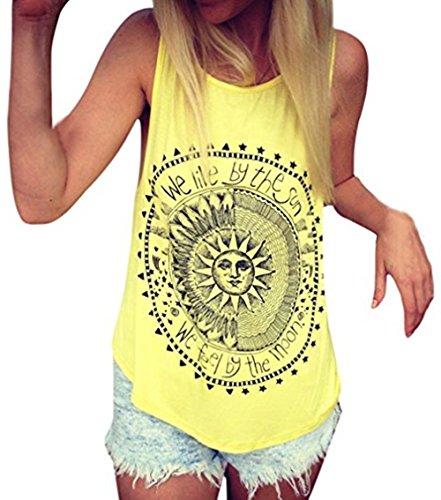 Bestfort Damen T-Shirt Sommer Tunika Blusenshirt Weste Tank Tops Printing Sun Ärmellos Blusen Rundhals Lose Schicke Sommerblusen Gelb (Schickes Kleid Für Große Hunde)