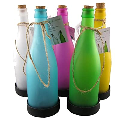 K7plus® LED Solarleuchte in Flaschenform - Milchglas - Solarflasche in fünf trendigen Farben als Set - tolle Dekoration für Garten / Balkon / Terrasse von K7plus® - Lampenhans.de