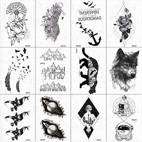 yyyDL 3D Frauen Schwarz Temporäre Tätowierung Körper Arm Kunst Skizze Vögel Tatoos Aufkleber Männer Wolf Mountain Tattoo Brust Paste 10 * 6 cm 12 - Einfach Wolf Mann Kostüm