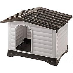 Feplast 87253099 Caseta de Exterior para Perros Dogvilla 70, Panel Lateral Que Se Puede Abrir, Robusto Plástico Resistente A Los Golpes y A Los Rayos UV, Rejilla de Ventilación, 73 x 59 x 53 Cm