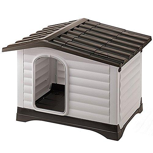 Feplast 87253099 Dogvilla 70 - Caseta de Exterior para Perros , Robusto Plástico Resistente a los golpes y rayos UV, Rejilla de Ventilación, 73 x 59 x 53 cm (Dimensiones internas: 62 x 43 x 45 cm)