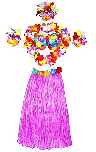 LAMEIDA 1 Set Jupe de pelouse hawaiaise Collier de guirlandes Bracelet Hawaiian Hula Grass Masquerade Dance Wears Clothing Jupe hawaïenne adulte Modèles plus épais 60cm (rose clair-60cm)