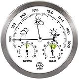 airself Estación meteorológica analógica para Interiores y Exteriores - con barómetro, termómetro, higrómetro - Acero Inoxida