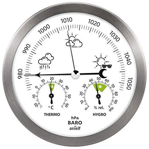 Airself Estación meteorológica analógica para Interiores y Exteriores - con barómetro, termómetro...