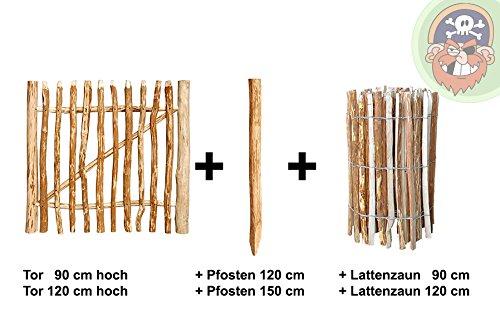 Zauntor mit Lattenabstand 7-8 cm für Haselnuss-Staketenzaun von Gartenpirat®