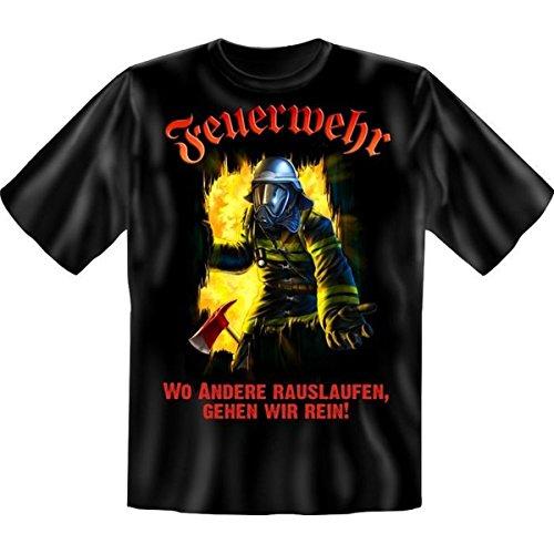 Feuerwehr-erwachsenen T-shirt (Fun T-Shirt: Feuerwehr - wo andere rauslaufen, gehen wir rein! (Größe: XL))