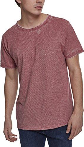 Urban Classics Herren Stripe Burn Out Tee T-Shirt, Rot (Light Red 01369), Large (Herstellergröße: L) -