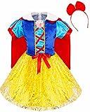 iEFiEL Déguisement Carnaval Enfant Fille Robe Costume Blanche Neige avec Serré-tête Cheveux 3-14 Ans Rouge & Jaune 5-6 ans