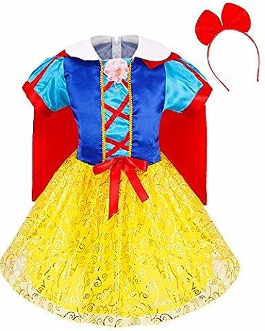 iEFiEL Déguisement Carnaval Enfant Fille Robe Costume Blanche Neige avec