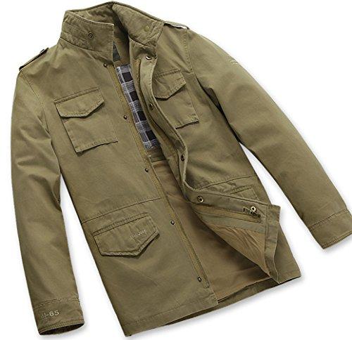 BININBOX® Herren Fashion Mantel Reine Baumwolle Jacke Stehenkragen Mantel für Frühling und Herbst in 2 Farbe Khaki