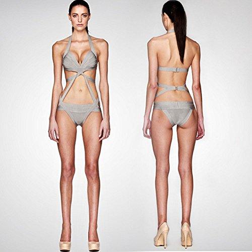 Surker Bandage Cut aus One Piece Bikini Bademode Badeanzug Schwarz