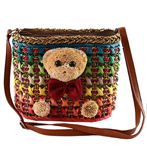 Donne Paglia Carino Arcobaleno Orso Piccolo Spalla Regali Shopper Crossbody Ragazza Rosso