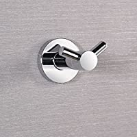 Charmingwater Stainless Steel Coat Hook Stable Wall Mount Heavy Duty Hook, Bath Robe Clothes & Towel Hook, Double Prong Robe Hook in Bathroom Bedroom Garage, Chrome Wall Key Holder Entryway Hook