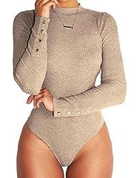 Inlefen Mujeres Sexy Color sólido de manga larga Slim Body Leotardo Bodycon Jumper Jumpsuit