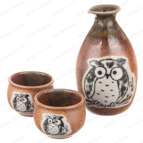 Kotobuki 120-548 Japanese Sake Set with 2 Cups (Brown/Oribe OWL) by M.V. Trading - Kotobuki-cup