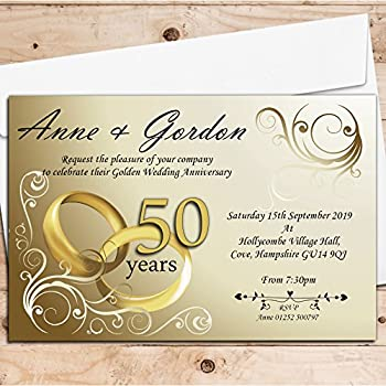 Golden wedding anniversary invitations amazon kitchen home 10 personalised 50th golden wedding anniversary invitations n1 stopboris Image collections