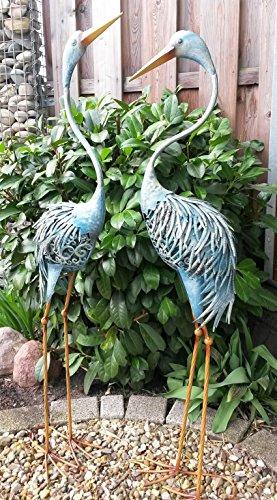 DK Fischreiher 2er Set Reiher Gartenfigur Teichfigur Metall Figur Tier Vogel Deko Teich (Metall-tier)