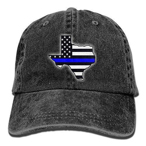 Unisex Erwachsene Texas dünne Blaue Linie Flagge Gewaschene Denim-Baumwolle Sport Outdoor Baseball-Mütze Einstellbare Einheitsgröße (Blauen Assistenten Hut)
