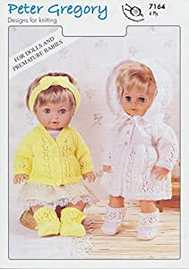 Scarves Knitting Patterns Free : Peter Gregory 4 Ply Knitting Pattern for Dolls Cardigan & Matinee Sets (7...