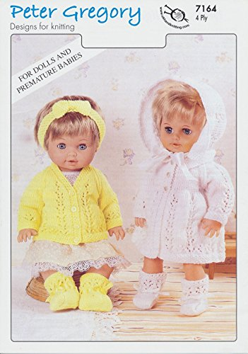 peter-gregory-4-ply-knitting-pattern-for-dolls-cardigan-matinee-sets-7164-new