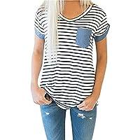 ♥ Camisas Mujer ♥ Ropa de Mujer de Moda Camiseta Tops de Rayas de Manga Corta para Mujer Blusa de Patchwork ♡Xinantime♡