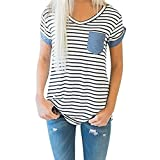 ♥ Camisas Mujer ♥ Ropa de Mujer de Moda Camiseta Tops de Rayas de Manga Corta Para Mujer Blusa de Patchwork ♡Xinantime♡ (M, ♝Blanco)