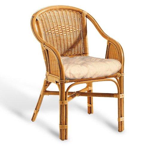Hansen Rattan-Sessel 3815/F610LDV honig gebeizt mit Polster B 61 T 63 H 83 SH 42 cm
