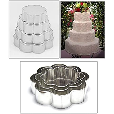EURO TINS teglia per torta nuziale 4 strati Petalo - set da 4 - 15cm, (Torta Di Quattro Strati)