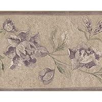 """Color morado flores color beige vintage floral cenefa de papel pintado, diseño retro diseño, rollo 15""""X 6.75"""""""