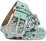 styleBREAKER edler Vintage Nietengürtel mit echtem Leder, verschiedene Nieten und Strass, kürzbar, Damen 03010053, Farbe:Türkis;Größe:95cm