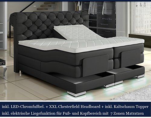 Boxspring Bett Chesterfield LED (180x200cm, Schwarz)