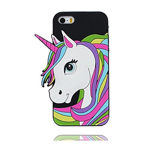 iPhone 5s Custodia, iPhone 5 SE 5C Copertura,   TPU durevole Case Per le ragazze delle signore Ragazzi   Gomma morbida del gel/ Cover / evidente/ unicorno unicorn Pink Nero
