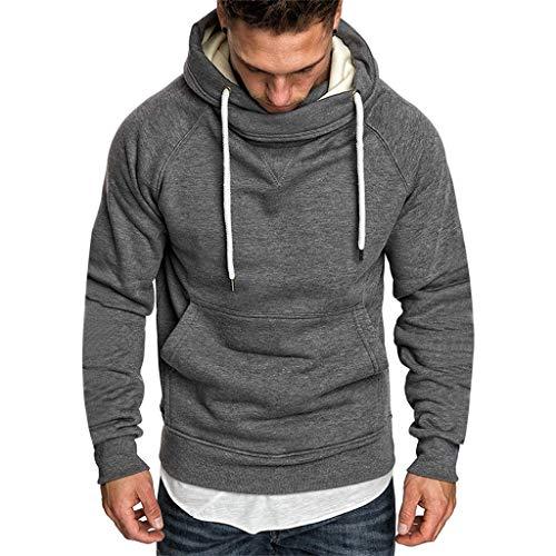 Xmiral Sweatshirt Hoodie Herren Einfarbig Knopf Kapuzenpullover mit Tasche Herbst Pullover Strickwaren Outwear mit Kapuze(c Dunkelgrau,3XL) -