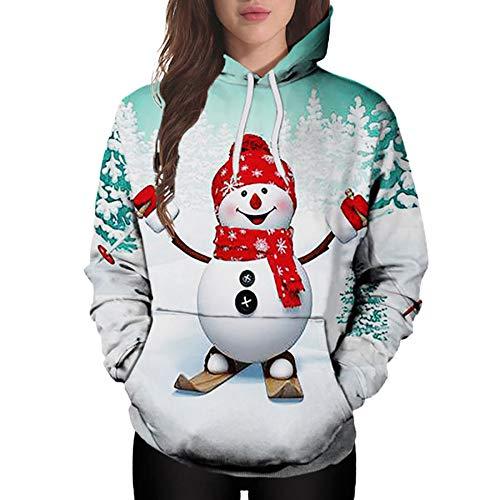 Fenverk Damen Frauen Frohe Weihnachten Schneeflocke Tops Sweatshirt Bluse Drucken Hemd Christmas Kapuzenpullis Hemden Lose Pullover Mantel Sweatshirts Blusen T-Shirt Kapuzenpullover(MinzgrüN 2,L)