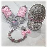 Luxus Geschenk Set mit Wunsch Namen, Strass Schnuller, Schuhe, Kette mit Namen, Geschenk Taufe, Geburt, Rosa, Weiss, Strass Flasche, Baby Shower Girl (0-6m)